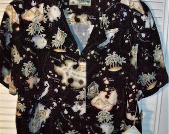 "Shirt XL, Men's Shirt,  Hawaiian  "" Jack's Cafe"", Cotton Shirt, Island Vintage Find, - see details"