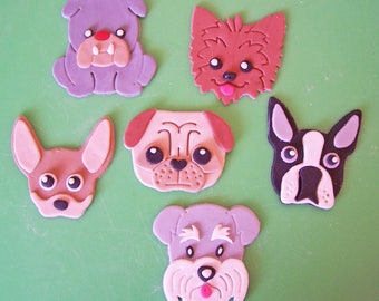 """6 Adorable Dog Faces From Which to Choose, Bulldog; Yorkie; Chihuahua; Pug; Boston Terrier; Schnauzer all Edible Fondant 3"""" Cupcake Toppers"""