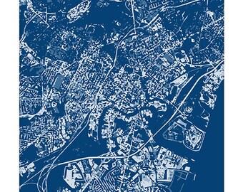 Wilmington DE Cityscape Art Print / Delaware City Map Wall Art / 8x10 / Choose your Color