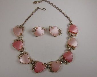 Lisner or Coro Unsigned Pink Thermoset Choker and Matching Clip earrings Set Vintage
