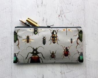 Pencil pouch - pencil case - bugs print bag - Entomology - pen pouch - gift for entomologist - gift for him - insects - pen case - zip pouch