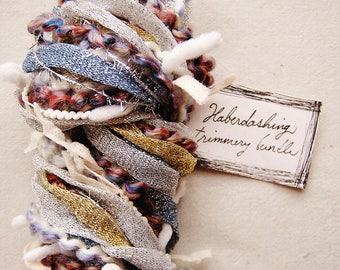 Sweep of Stardust blue silver gold cream rust tinsel ribbon flag garland novelty yarn bundle