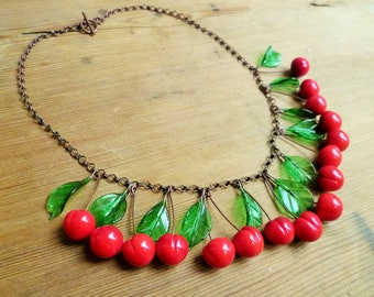 Cherry necklace, 40's 50's inspired lampwork necklace, glass fruit necklace, berry necklace.