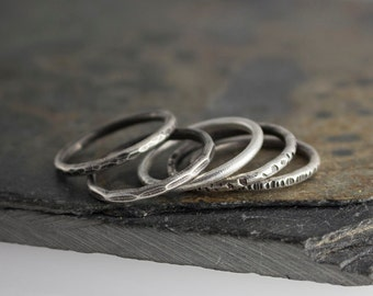 Set of 5 Silver Stackable Rings, Hammered Ring, Sterling Silver, Band Ring, Staking Silver Ring, Dainty Stacking Ring, Stackable Ring