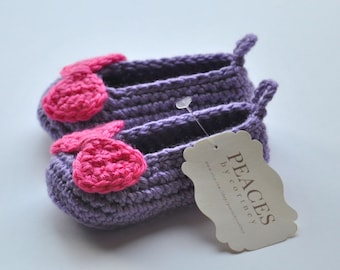 Baby Shoes - Purple Slipper with Bright Pink Bows