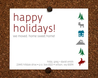 We Moved Cards. Wyoming. Colorado. Utah. Idaho. Montana. Happy Holidays We Moved Come Visit Postcard. Custom. Personalized (Set of 10)
