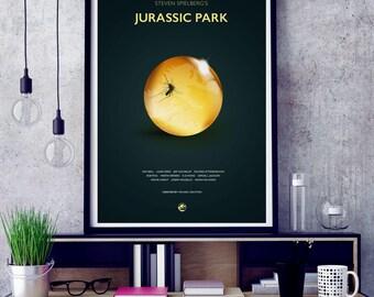 Jurassic Park Film Poster Art Print, Jurassic Park Film Poster, Michael Crichton, Cult Film, Minimalist Movie Poster, Wall Art