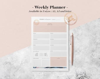 Marble Weekly Planner Printable, Mood&Habit Tracker, Weekly Schedule, Printable Planner Pages, Planner Inserts, Undated Planner, BuJo