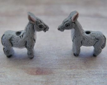 10 Tiny Donkey Beads - Ceramic, Peruvian, animal, jackass -  CB322