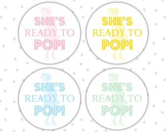 Ready To Pop Stickers   Ready To Pop Labels   Ready To Pop Baby Shower    Shes Ready To Pop Stickers   Shes About To Pop (RW058)