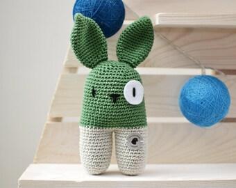 Crochet Rabbit/Crochet rabbit/rattle/Rattle/hug/Cuddle toy/stuffed Animal/Amigurumi