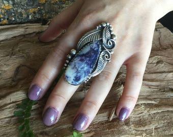 Tiffany Stone Statement Ring/ Artisan Handmade/ Sterling Silver/Southwestern/ size 8