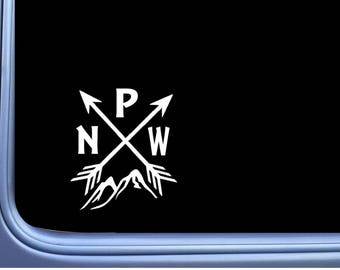 Pacific Northwest PNW Mountain M132 6 Inch Sticker Decal camping arrows hiking