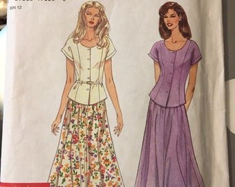 Misses' Skirt and Top Sewing Pattern Simplicity 7197  Size 6-16 Bust 30-38 inches Uncut Complete Easy to Sew