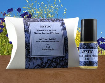 Mystic, Organic Botanical Perfume Oil, 100% Natural with Essential Oils and Flower Essences including Sandalwood, Clary Sage