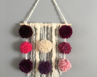 Mixed technique wall hanging - Pink and purple tones