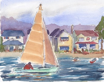 Original Watercolor Painting, Seascape Painting, Sailboat, Beach Cottages, Harmony Blue, 8 X 10 SFA