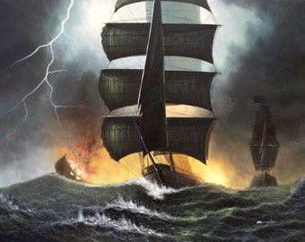 "36"" x 48"" Pirate Ship vs British Navy - Hand Painted Oil Painting on Canvas"