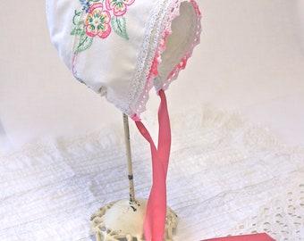 Vintage Embroidery-Rose Baby bonnet  -- Antique pillow slip bonnet. Easter bonnet. infant photo prop. vintage bonnet.  cotton baby girl hat