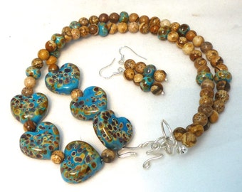 ON SALE Desert Hearts; Sonoran Series Artist made necklace and earrings with lampwork and stone