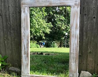 Light Whitewash Wood, Wood Mirror, Rustic Wood Mirror, Bathroom Mirror, Wall Mirror, Vanity Mirror, Small Mirror, Large Mirror, Farmhouse