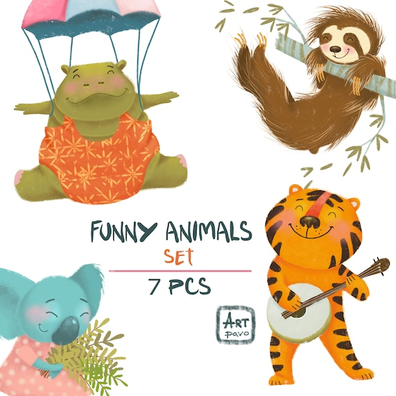 Funny Animals, Hand Painted Clipart, Invitation, Logo, Greetings Card,  Childrens Illustrations, Kids Room Decor, 7 Clipart 300 Dpi PNG Files