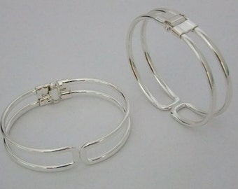 Super Shiny Silver Plated Cuffs/Bangles with Spring Closure 2 Pack