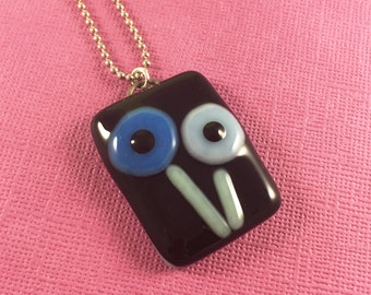 Fused Glass - Rivet Flowers in Blues Necklace