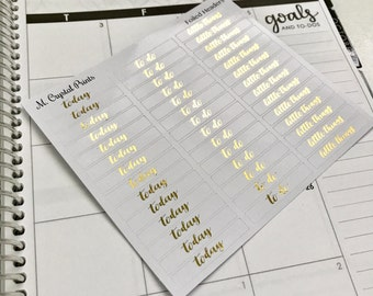 Foiled Headers Planner Stickers || 42 Stickers
