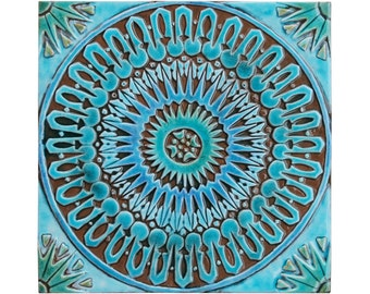 Bathroom wall decor with Moroccan design, Ceramic tile, Bathroom art, Moroccan decor, Moroccan wall art, Moroccan tile #3, Turquoise, 30cm