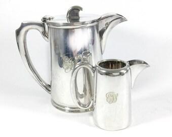 Silver plated coffee pot, Hot water jug, Creamer, Milk jug, Walker & Hall, Monogram EGS