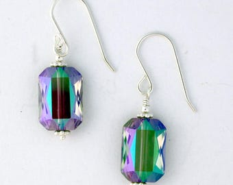 Aurora Borealis Crystal Sterling Silver Earrings
