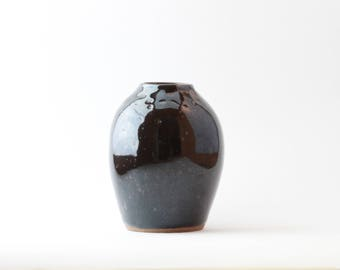 Small Rounded Black Vase
