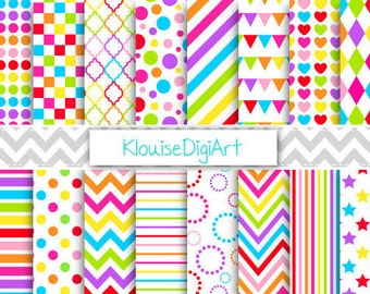Rainbow Bright Printable Digital Paper Pack with Chevrons, Polka Dots, Hearts and Diamonds for Personal and Small Commercial Use (0107)