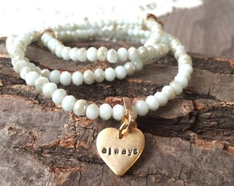 3 Layer Elastic Beaded Bracelet with Custom Gold-Plated Heart