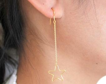 Sterling Silver Dangling Earrings, Silver Chain Earrings, Star Dangling Silver Earrings
