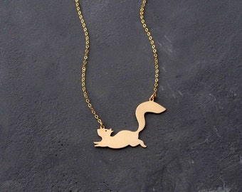 Squirrel Necklace - Statement Necklace - Animal Necklace - Gold Nature Necklace - Woodland Animals - Squirrel Jewelry - Gold Necklace