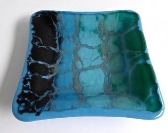 Fused Glass Dish in Blue, Green, Black and Gray by BPRDesigns