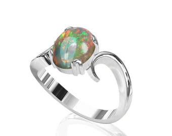 10x8mm Natural Australian Black Opal Ring in 925 Sterling Silver SKU: R2266-925