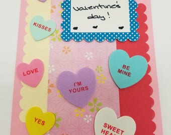 Happy Valentine's Day! Handmade Greeting Card * Conversation Hearts * Foodie Love * Pink and Red Card