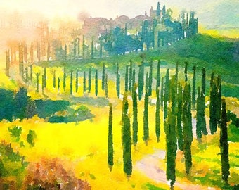 Tuscany Italy Original Watercolor Brush Illustration Painting