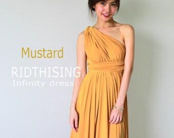 Maxi Mustard Infinity Dress Bridesmaid Dress Prom Dress Convertible Dress Wrap Dress