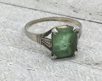 Victorian white gold ring, 10k gold garnet ring, tsavorite garnet ring, green emerald ring, green tsavorite, 1800's gold ring, size 9.25