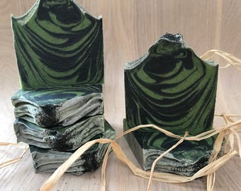Into the Woods / Activated Charcoal & Green Clay Face Bar / Cold Process Handmade Soap / 100 % Natural Soap