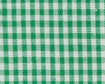 Green-and white cotton fabric 2mm squared small - Vichy Karo