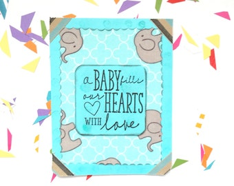 It's a boy card, Congratulations baby boy, Baby shower boy card, Elephant card for baby boy, Mom expecting baby boy card, Congrats mom