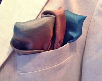 Hand Painted Silk Pocket Square, coral, turquois, blue