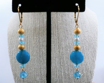 Blue and gold acrylic,  glass, crystal  and metal bead pierced earrings