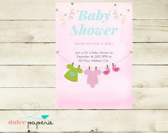 Kids Invitations Pink Watercolor Baby Shower Clothesline Invitation