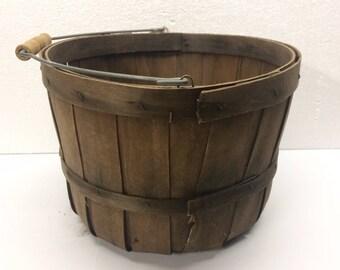 Vintage Split Wood Basket Rustic Fruit Egg Gathering Farm Primitive